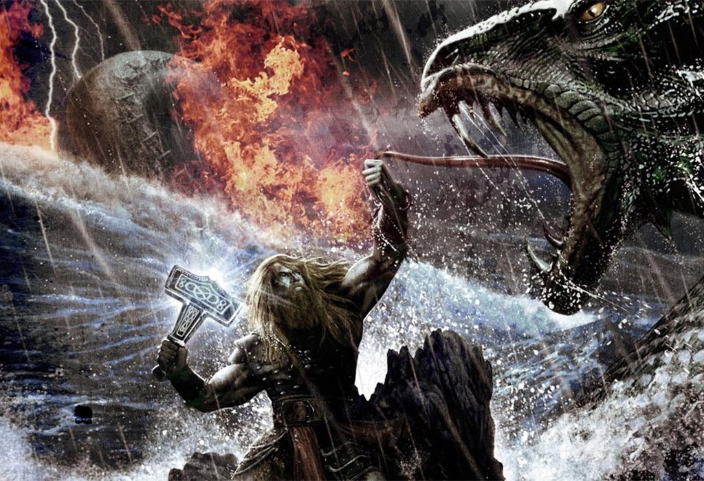 Тор сражается со змеем.