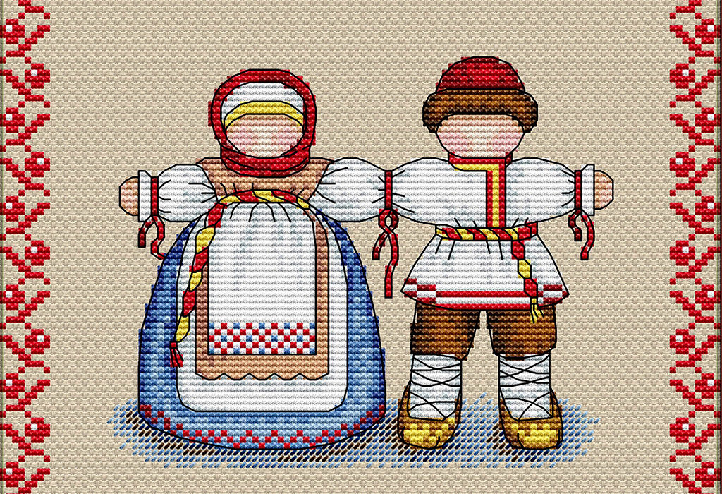 Оберег Неразлучники в виде вышивки крестом
